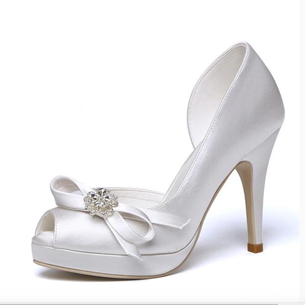 Women's Satin With Bowknot Heels Peep Toe Wedding Shoes