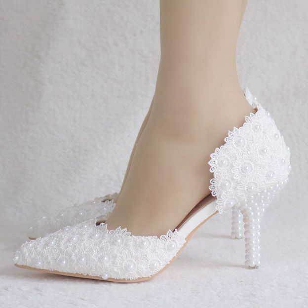 Women's Lace PU With Imitation Pearl/Appliqued Close Toe Heels Shoes