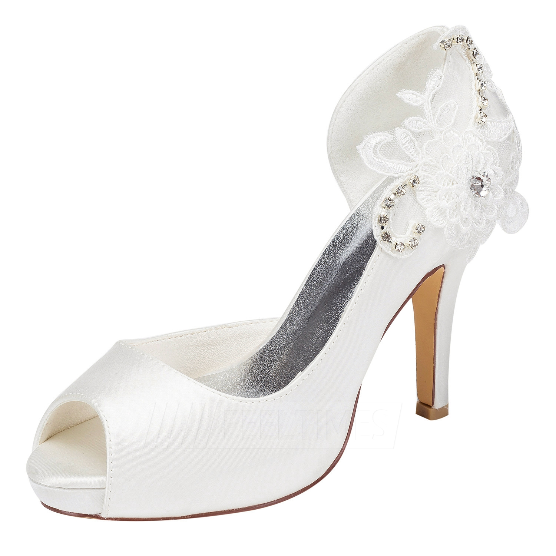 Women's Satin With Rhinestone/Flowers Peep Toe Pumps Heels Wedding Shoes