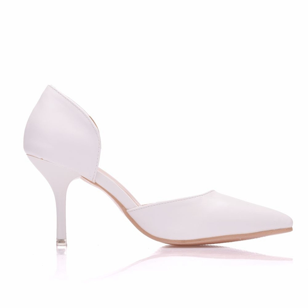 Women's Leather Close Toe Heels Shoes