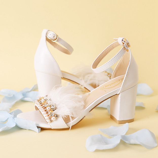 Women's Leather With Feather/Ankle Strap Heels Sandals Shoes
