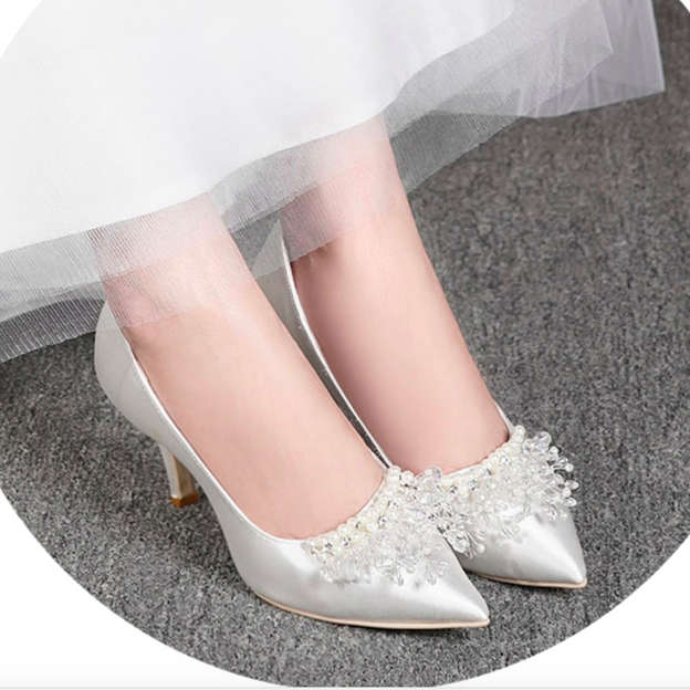 Women's Satin With Imitation Pearl Pumps Heels Close Toe Shoes