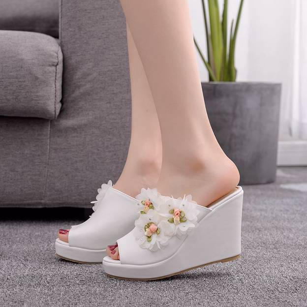 Women's Satin With Flowers Platform Wedges Wedding Shoes