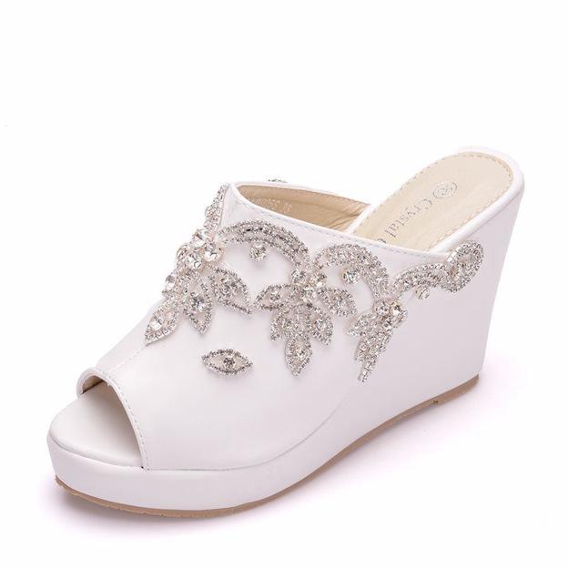 Women's Satin With Rhinestone Platform Wedges Wedding Shoes