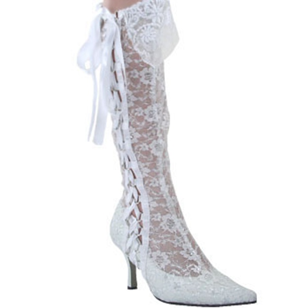 Women's Lace With Lace-up Boots Knee High Boots Wedding Shoes