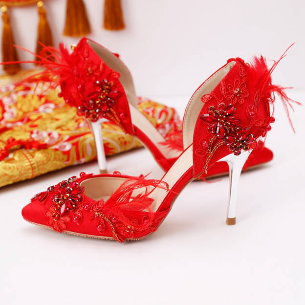 Women's Leatherette With Rhinestone/Lace/Feather Heels Pumps Wedding Shoes