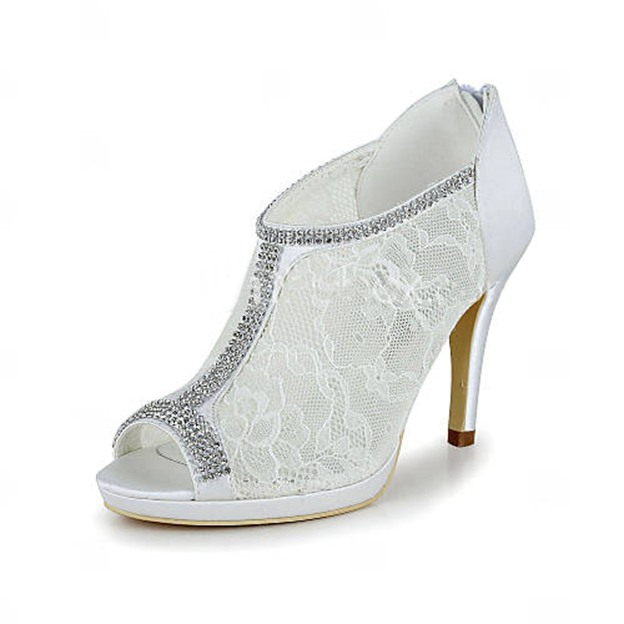 Women's Lace With Zipper/Chain Heels Wedding Shoes