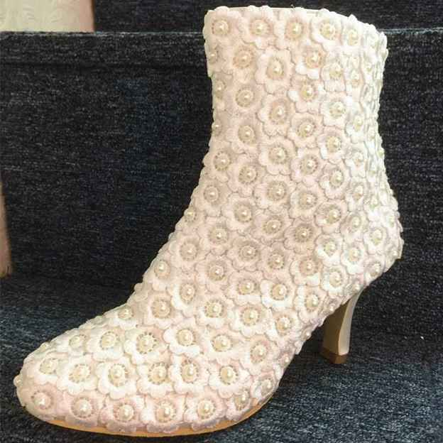 Women's Satin With Zipper/Appliqued Boots Heels Wedding Shoes