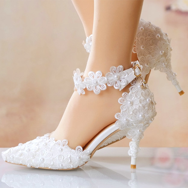 Women's Lace With Imitation Pearl/Ankle Strap Heels Pumps Wedding Shoes