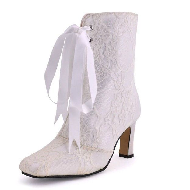 Women's Lace With Ribbon Tie Boots Close Toe Shoes