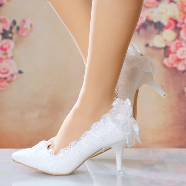 Women's Lace Leatherette With Flowers Heels Pumps Wedding Shoes