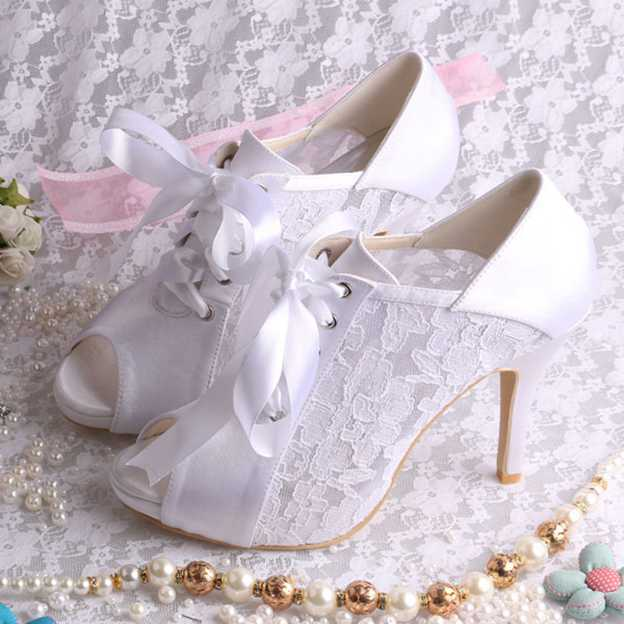 Women's Lace With Lace-up Heels Peep Toe Wedding Shoes