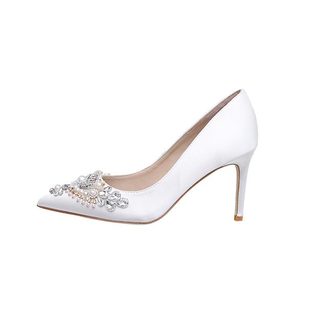 Women's Silk Like Satin With Rhinestone/Imitation Pearl Close Toe Heels Pumps Shoes