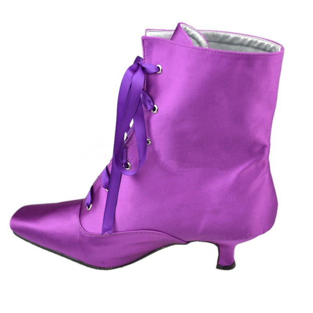 Women's Satin With Lace-up Boots Ankle Boots Shoes