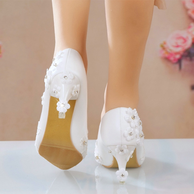 Women's Leatherette With Rhinestone/Lace Heels Pumps Wedding Shoes
