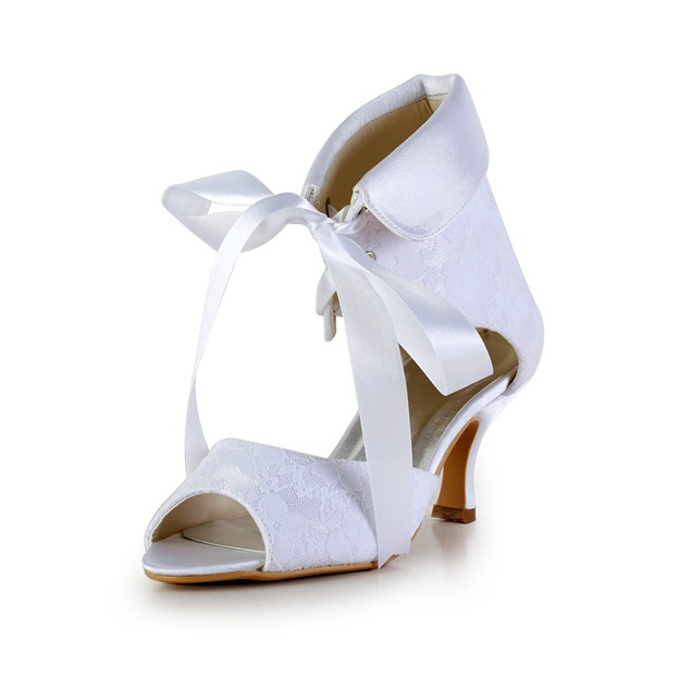 Women's Lace With Ribbon Tie Peep Toe Heels Wedding Shoes