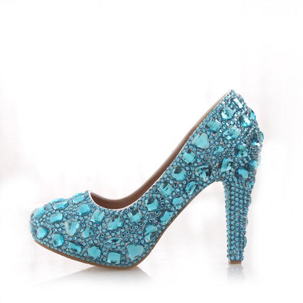 Women's PU With Rhinestone Pumps Heels Close Toe Shoes
