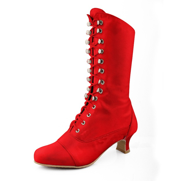 Women's Satin With Lace-up Boots Mid-Calf Boots Shoes