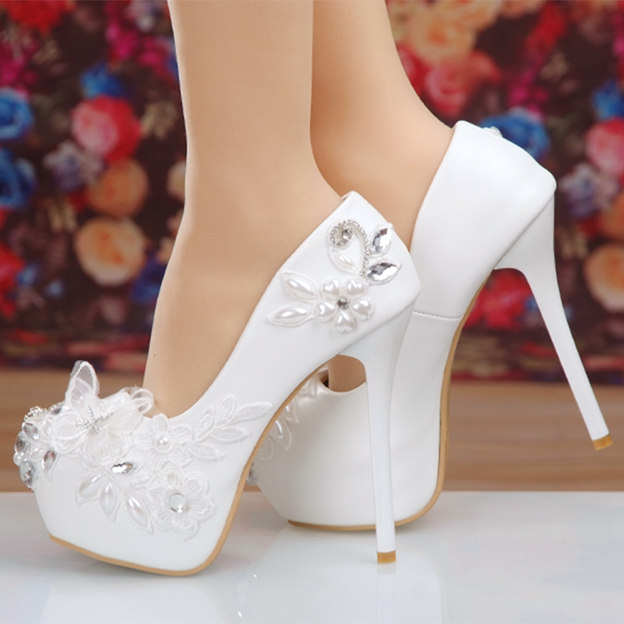 Women's Leatherette With Lace Heels Pumps Wedding Shoes