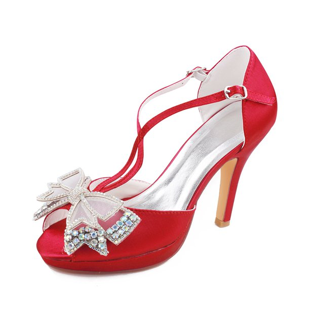 Women's Satin With Rhinestone/Bowknot Heels Peep Toe Wedding Shoes