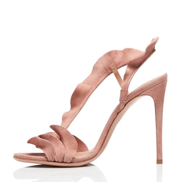 Women's Velvet With Ruffles Heels Peep Toe Sandals Fashion Shoes
