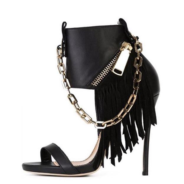 Women's PU With Zipper/Chain Heels Peep Toe Fashion Shoes