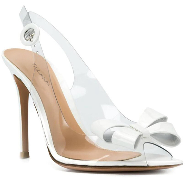 Women's PVC With Buckle/Bowknot Heels Peep Toe Sandals Fashion Shoes