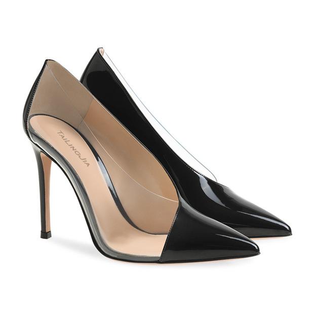 Women's PVC Patent Leather Close Toe Heels Fashion Shoes