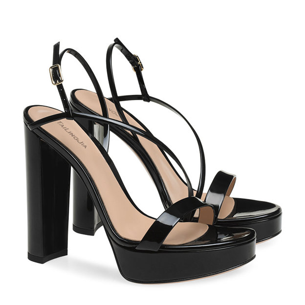 Women's Patent Leather With Buckle Heels SlingBacks Fashion Shoes