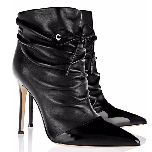 Women's Patent Leather With Split Joint Heels Ankle Boots Fashion Shoes