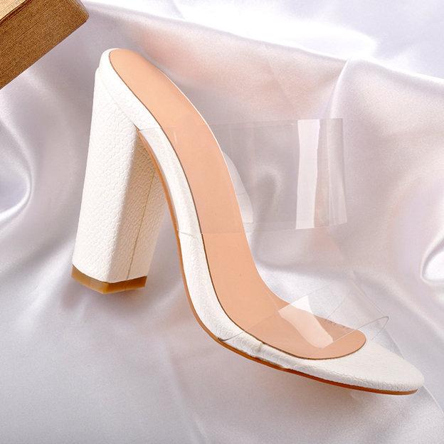Women's PVC Heels Peep Toe Fashion Shoes