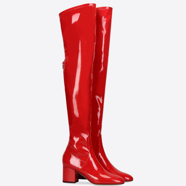 Women's PU With Zipper Close Toe Over The Knee Boots Fashion Shoes