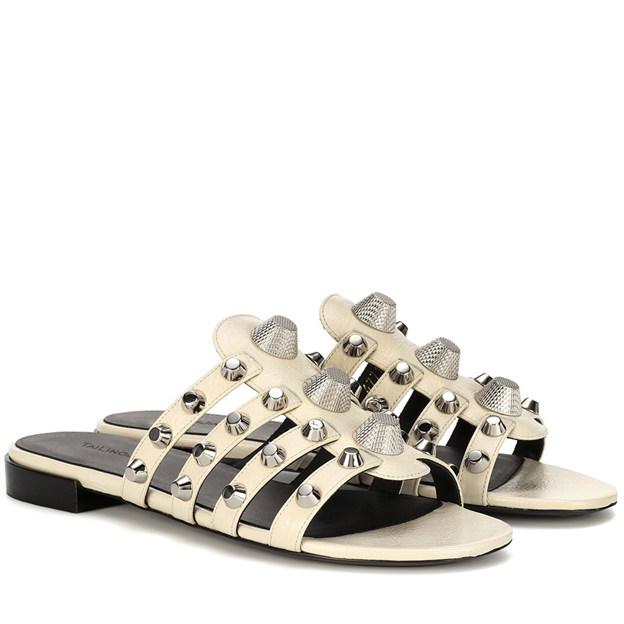 Women's PU With Rivet Flats Peep Toe Fashion Shoes