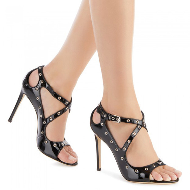 Women's Patent Leather With Hook & Loop/Buckle Heels Fashion Shoes