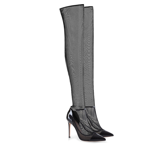 Women's Tulle With Ankle Strap Close Toe Over The Knee Boots Fashion Shoes