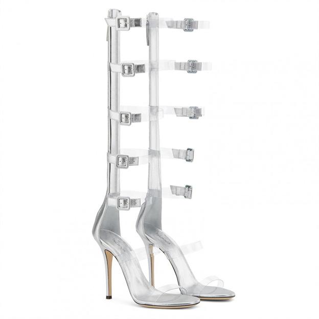 Women's PVC With Zipper Buckle Heels Peep Toe Fashion Shoes