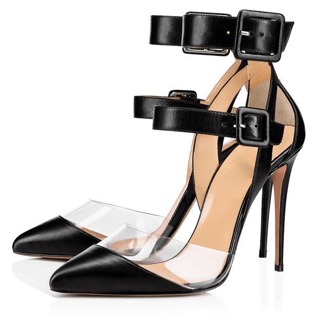 Women's PVC PU With Buckle Close Toe Heels Fashion Shoes