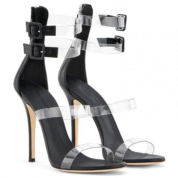 Women's PVC With Buckle Peep Toe Heels Fashion Shoes