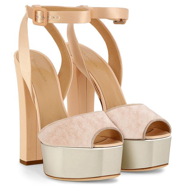 Women's Velvet With Buckle Heels Peep Toe Platform Fashion Shoes