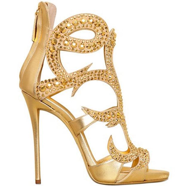 Women's PU With Zipper Rhinestone Heels Peep Toe Fashion Shoes