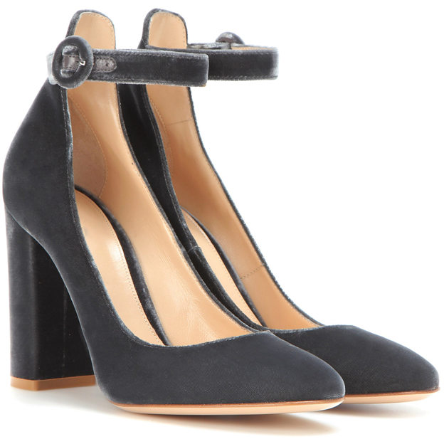 Women's Velvet With Ankle Strap Heels Close Toe Fashion Shoes