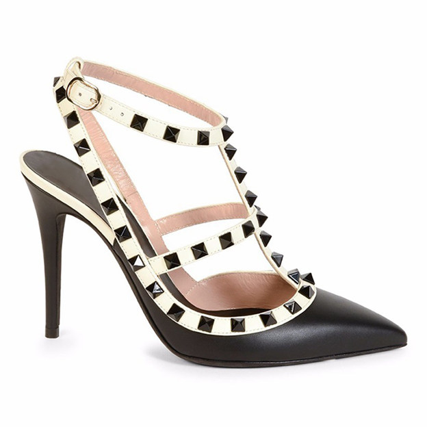 Women's PU With T-Strap/Buckle/Rivet Close Toe Heels Fashion Shoes