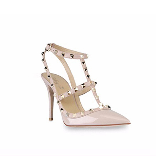 Women's Patent Leather With T-Strap/Rivet/Buckle Close Toe Heels Fashion Shoes