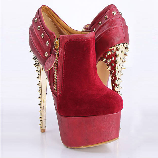 Women's Leatherette With Zipper/Rivet Heels Ankle Boots Fashion Shoes
