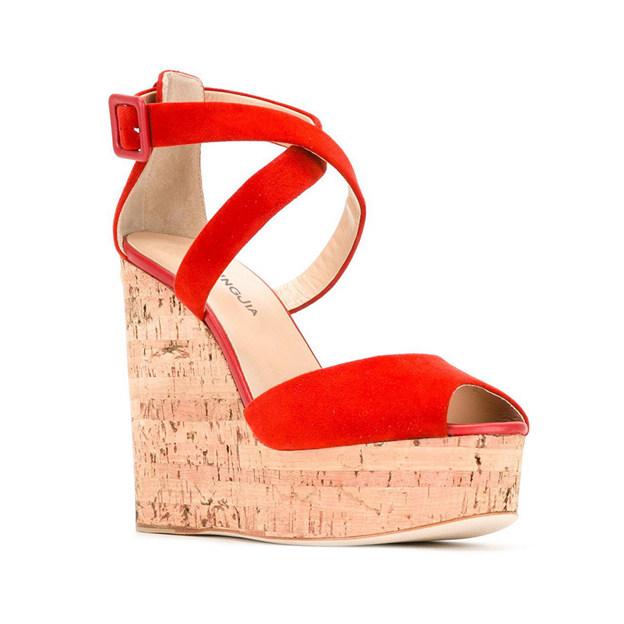 Women's PU With Buckle Heels Peep Toe Platform Fashion Shoes