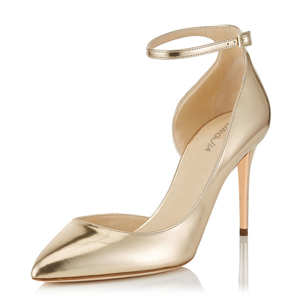 Women's PU With Ankle Strap Close Toe Heels Fashion Shoes