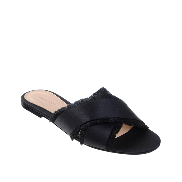 Women's Satin With Tassel Flats Flip Flops Shoes