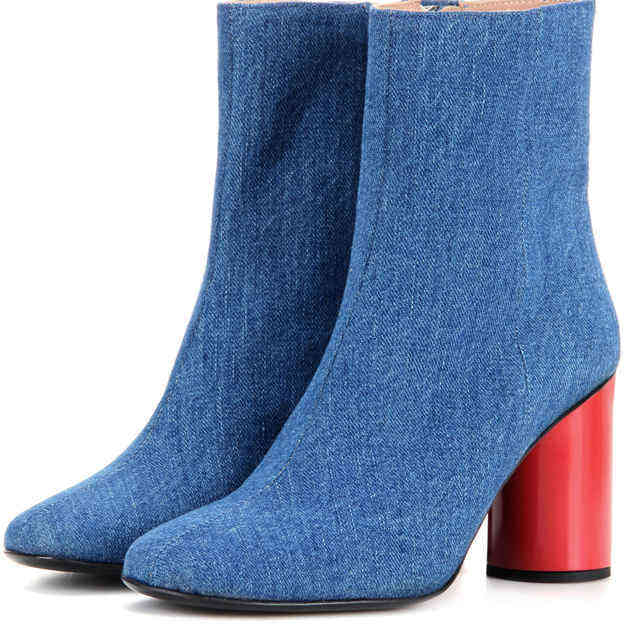 Women's Denim With Zipper Heels Ankle Boots Shoes