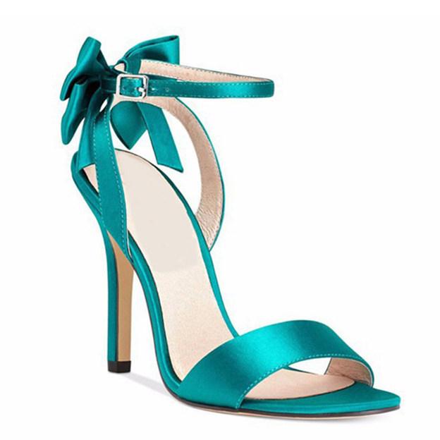 Women's PU With Buckle/Bowknot Heels Peep Toe SlingBacks Fashion Shoes