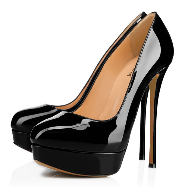 Women's Patent Leather Close Toe Heels Platform Fashion Shoes